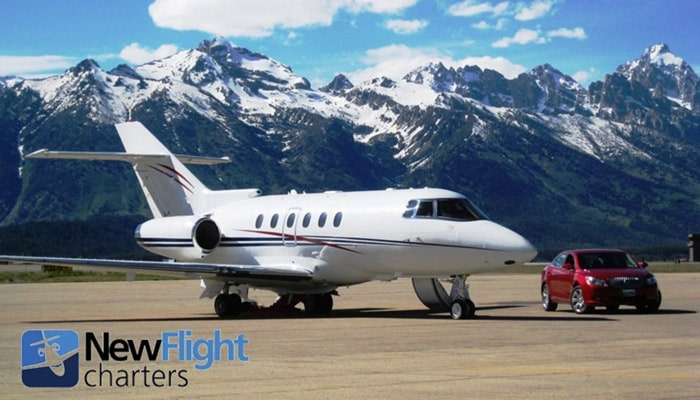 Empty leg private jet charter with New Flight Charters, ready for departure from Jackson Hole Airport
