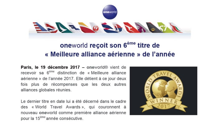 oneworld-6eme-titre-meilleure-alliance-2017