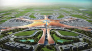 overall aerial view of the beijings new airport