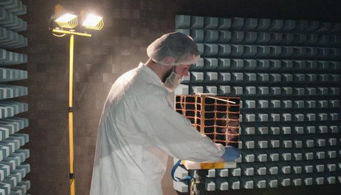 Pioneer_Spire_nanosatellite_in_RF_test_chamber