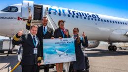 Le nouvel appareil airbus a321neolr d'air transat va prendre son envol depuis nice