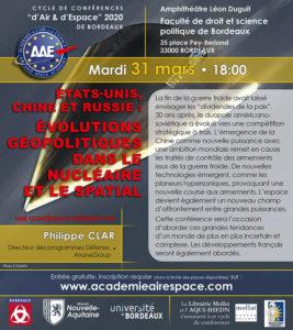 Etats-Unis, Chine et Russie : évolutions géopolitiques dans le nucléaire et le spatial @ Amphithéâtre Léon Duguit - Faculté de droit et de science politique de Bordeaux