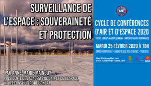 """Conférence """"Surveillance de l'espace : souveraineté et protection"""" par Anne-Marie Mainguy-Mardi 25 Fév. 2020-Médiathèque José Cabanis, Toulouse-AAE @ Médiathèque José Cabanis, Toulouse"""